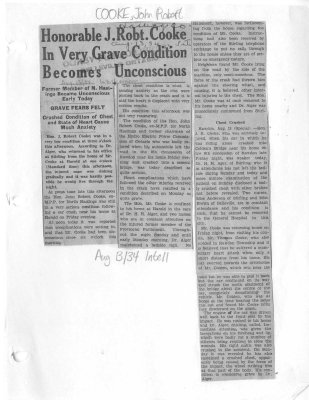 Honorable J. Robt. Cooke In Very Grave Condition Becomes Unconscious