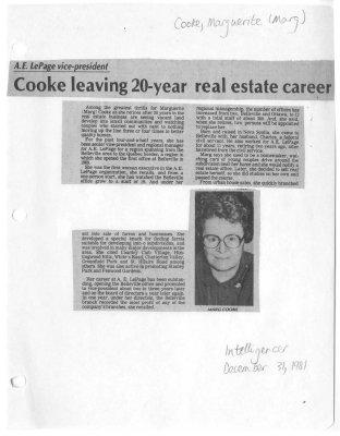 Cooke leaving 20-year real estate career