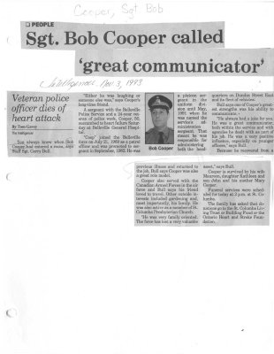 Sgt. Bob Cooper called 'great communicator'