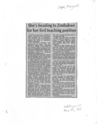 She's heading to Zimbabwe for her first teaching position