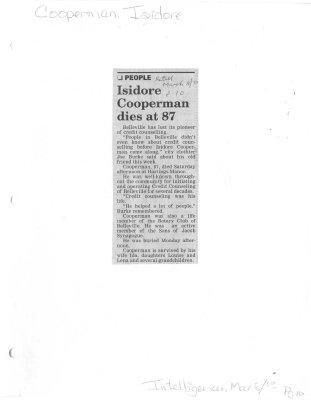 Isidore Cooperman dies at 87