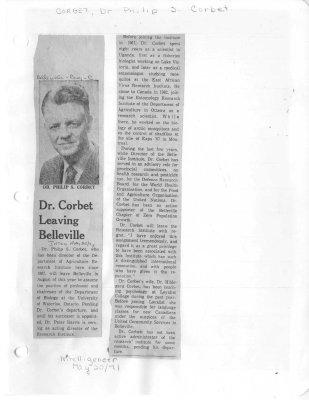 Dr. Corbet Leaving Belleville