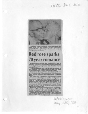 Red rose sparks 70 year romance