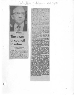 The dean of council to retire