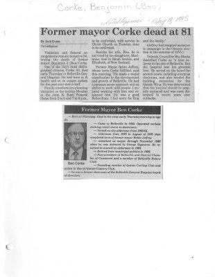 Former mayor Corke dead at 81