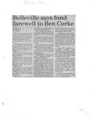 Belleville says fond farewell to Ben Corke