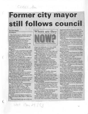 Former city mayor still follows council