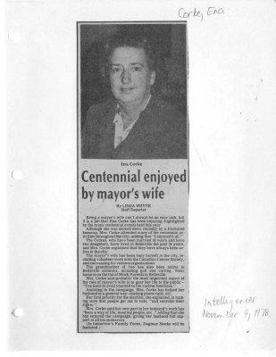 Centennial enjoyed by mayor's wife