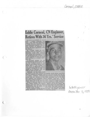 Eddie Corneal, CN Engineer, retires with 36 Yrs.' Service