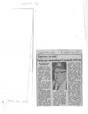 Veteran newsman Cornish retires