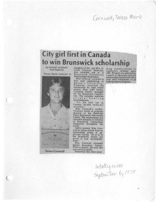 City girl first in Canada to win Brunswick Scholarship