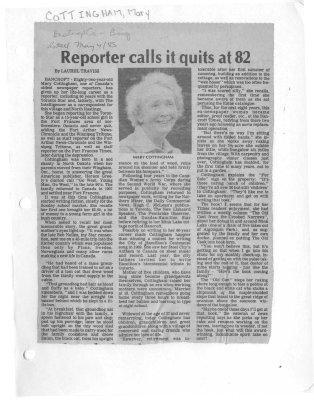 Reporter calls it quits at 82