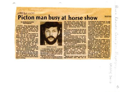 Picton man busy at horse show