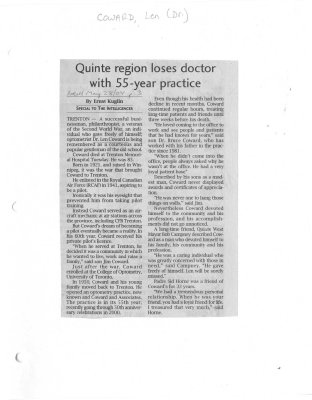 Quinte region loses doctor with 55-year practice