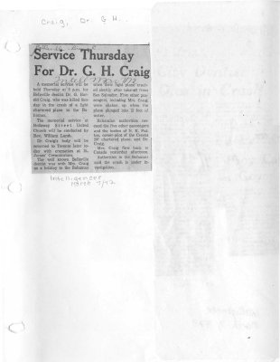 Service Thursday For Dr. G. H. Craig
