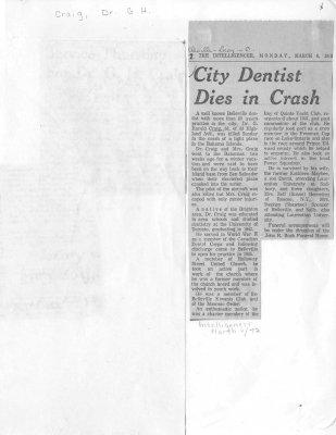 City Dentist Dies in Crash