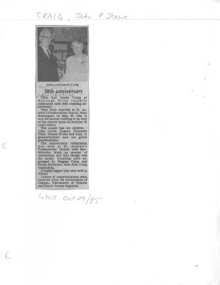 John and Jessie Craig: 50th Anniversary