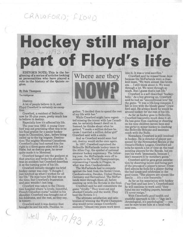 Hockey still major part of Floyd's life