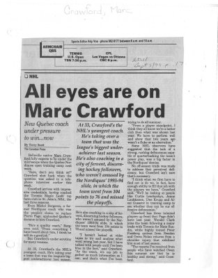 All eyes are on Marc Crawford