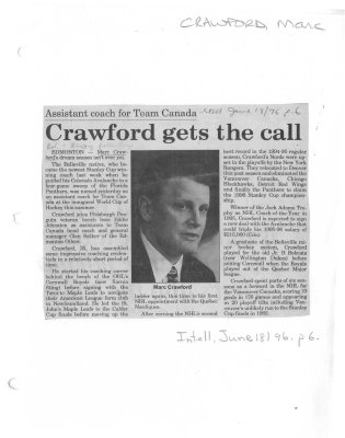 Crawford gets the call