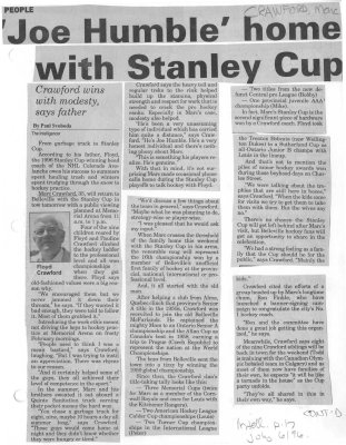 'Joe Humble' home with Stanley Cup