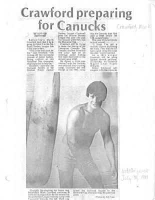 Crawford preparing for Canucks