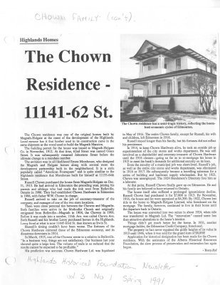 The Chown Residence - 11141-62 St.