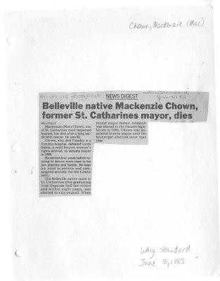 Belleville native MacKenzie Chown, former St. Catharines mayor, dies