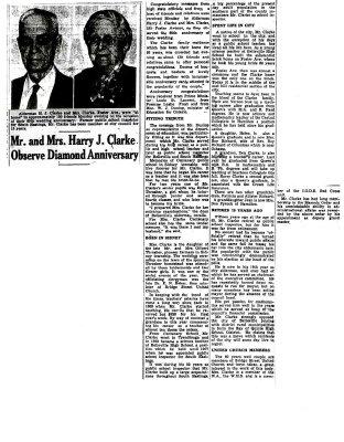 Mr and Mrs Harry J. Clarke Observe Diamond Anniversary