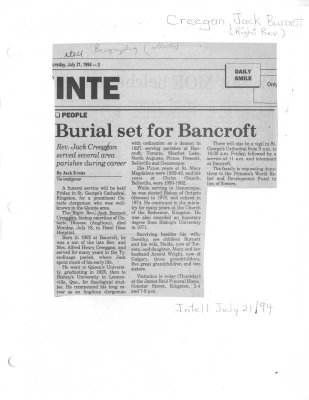 Burial set for Bancroft