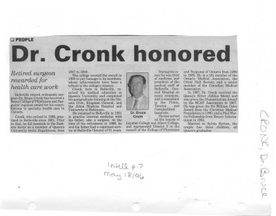 Dr. Cronk honored