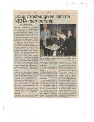 Doug Crosbie given lifetime NENA membership