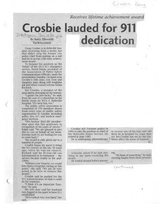 Crosbie lauded for 911 dedication