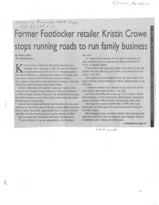 Former Footlocker retailer Kristin Crowe stops running roads to run family business
