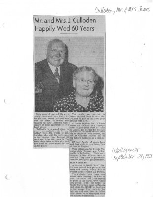 Mr. and Mrs. J. Culloden Happily Wed 60 Years