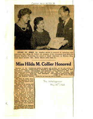 Miss Hilda M. Collier Honored