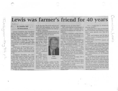 Lewis was farmer's friend for 40 years