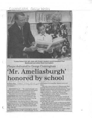 'Mr. Ameliasburgh' honored by school