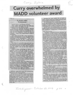 Curry overwhelmed by MADD volunteer award