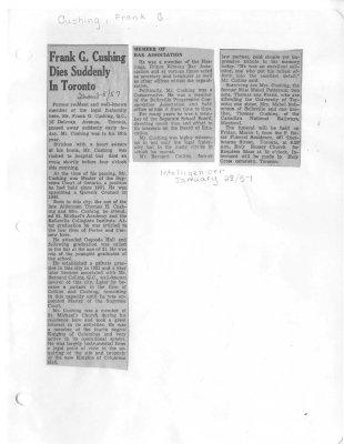 Frank G. Cushing Dies Suddenly in Toronto