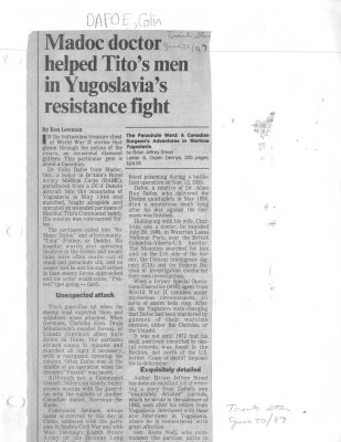 Madoc doctor helped Tito's men in Yugoslavia's resistance fight
