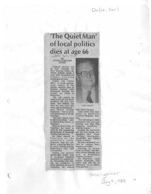 'The Quiet Man' of local politics dies at age 66