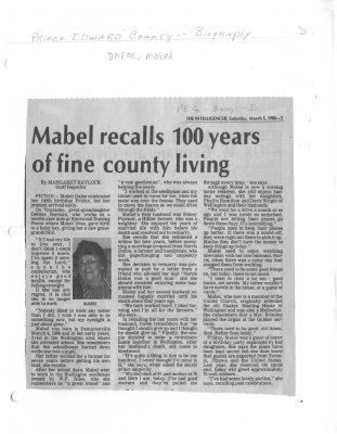 Mabel recalls 100 years of fine county living