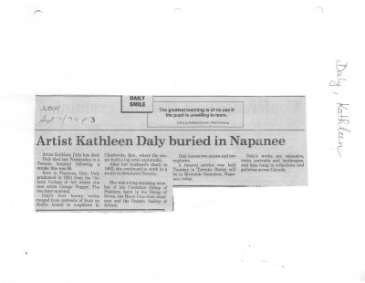 Artist Kathleen Daly buried in Napanee