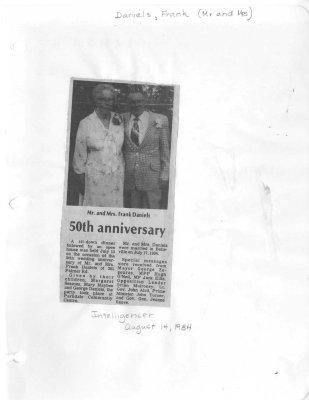 50th anniversary: Mr and Mrs Frank Daniels