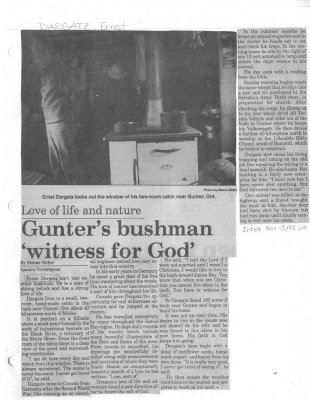 Gunter's bushman 'witness for God'