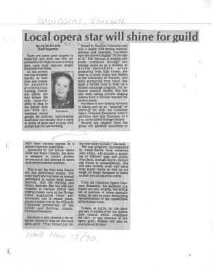 Local opera star will shine for guild