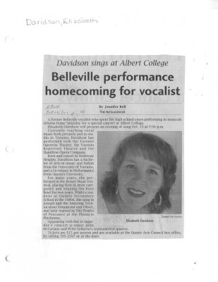 Belleville performance homecoming for vocalist