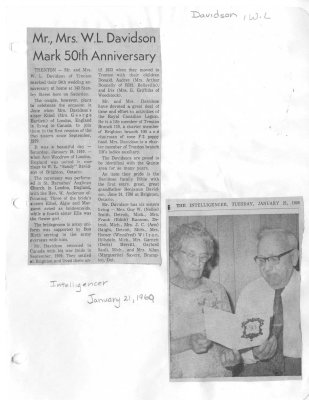 Mr., Mrs. W. L. Davidson Mark 50th Anniversary