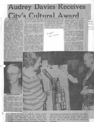 Audrey Davies Receives City's Cultural Award